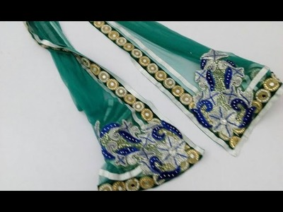DIY : Make a fancy & stylish ladies duppata | Stones , Lace & Embroidery | Full Making Video