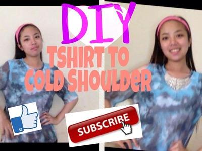 DIY NO SEW Plain T-Shirt to COLD Shoulder T-Shirt