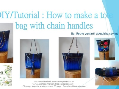 DIY. Sewing bag TUTORIAL : How to make a leather tote bag with flap and chain weaving handle.