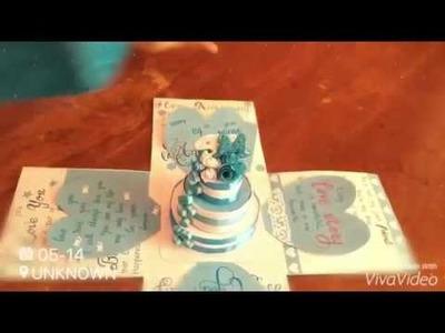 Exploding Gif box.  DIY Surprise cake gift box