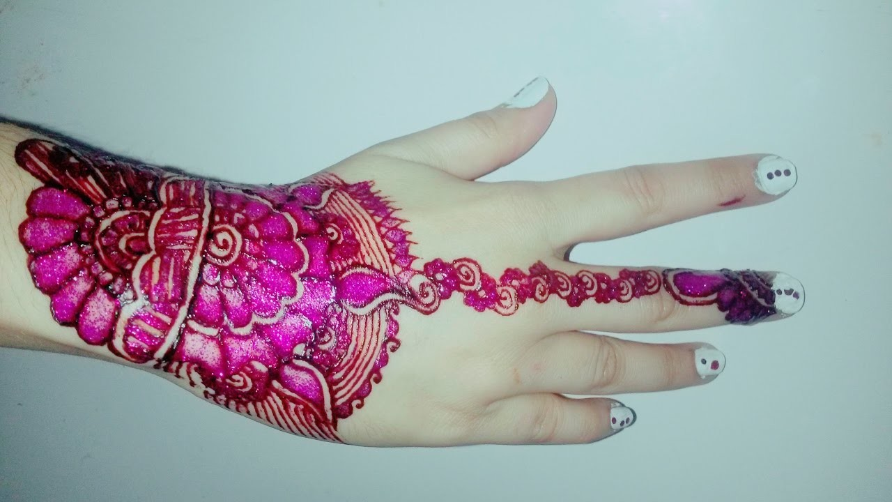 Mehndi Flowers Step By Step : How to apply simple latest new beautiful henna mehndi pink