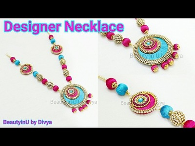 How to make Chandbali Silk Thread Necklace at Home. DIY. Silk Thread Jewellery Tutorial