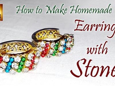 How to Make Homemade Earrings with Stones | Jewelry Making Tutorial | Peddabala siksha