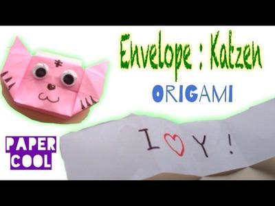 Origami envelope: Katzen falten mit Papier secret message.mit Kindern ☆DIY☆Origami Tiere.Paper Cool