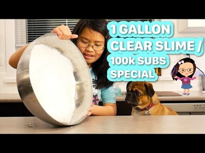 1 GALLON CLEAR GLUE SLIME | SLIME GIVEAWAYS FOR 100,000 SUBSCRIBERS SPECIAL