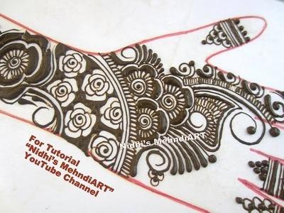 Creative Rose Flowery Arabic Henna Mehndi Design for Hand-Freehand Rose Negative Space Technique Tut