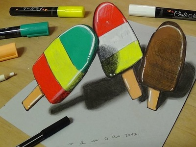 Drawing and Coloring for Kids - How to Draw Ice Cream - 3D Trick Art for Kids