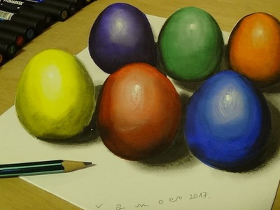 Drawing and Coloring for Kids - How to Draw Easter Eggs - 3D Trick Art for Kids