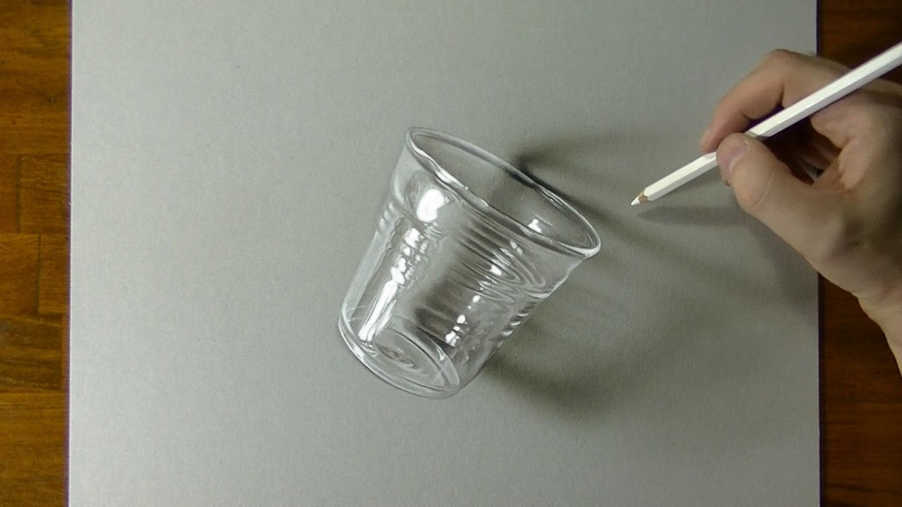 Glass or plastic drawing of a coffee cup how to draw 3d art for Glass or acrylic