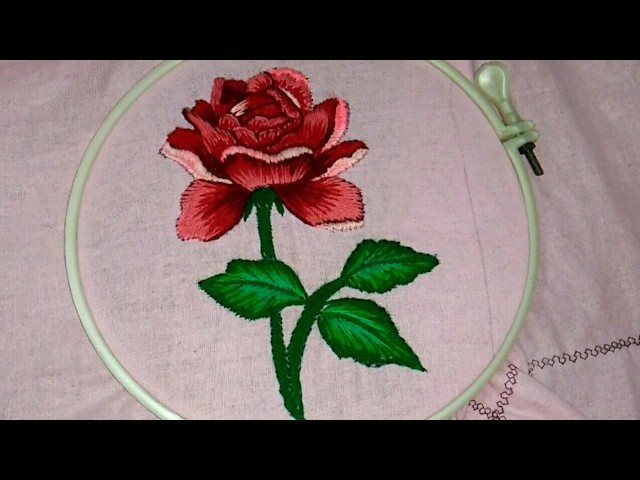 Hand embroidery a beautiful rose with shading work
