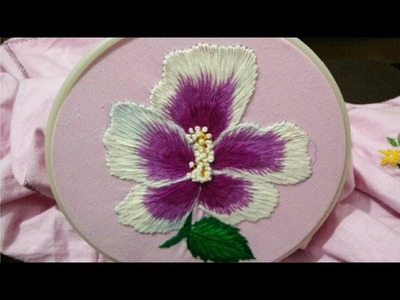 Hand embroidery beautiful hibiscus flower