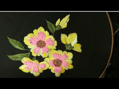 Hand embroidery flower and leaf with just three simple stitch
