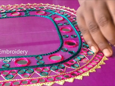 Hand embroidery tutorial for beginners | Basic embroidery stitches | mirror work embroidery designs