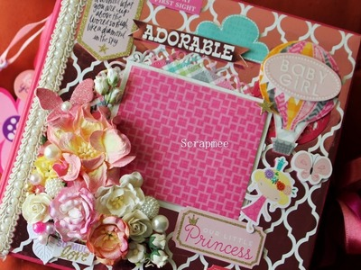 Handmade Baby Girl Scrapbook. Baby Record Book. DCWV Baby Girl. 8x8 inch album