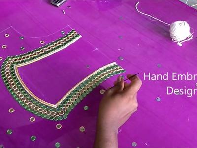Mirror work tutorial for beginners | hand embroidery designs, easy mirror work, easy zardosi work