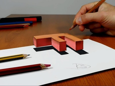 Try to do 3D Trick Art on Paper, floating letter F