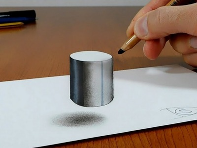 Try to do 3D Trick Art on Paper, Floating Cylinder