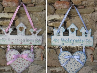 Decoupage tutorial - DIY. How to make shabby chic welcome home outdoor signs.