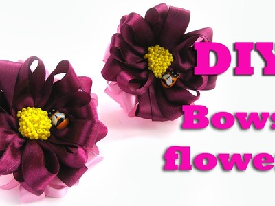 DIY bows-flowers with bees. Kanzashi