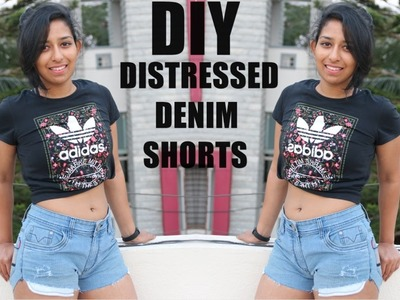 DIY : Distressed Denim Shorts | From Pants to Shorts
