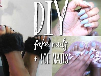 DIY Easy FAKE Nails & Toe Nails At HOME!!