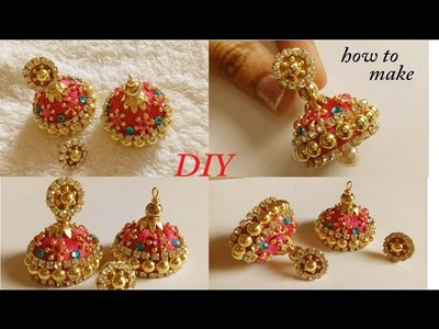 DIY || how  to make designer silk thread bridal jhumka earrings at home || tutorial
