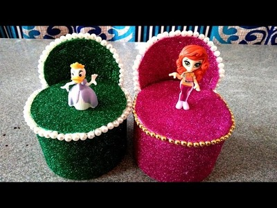 DIY || How To Make Miniature Round Sofa With Cotton Tin || Making of Doll Sofa ||