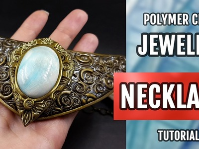 DIY Making an Extraordinary Necklace with Faux Moonstone. Polymer Clay Jewelry Making. Tutorial!