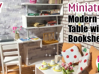 DIY Miniature Modern Table with Bookshelf | Dollhouse