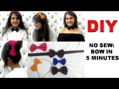 DIY: No Sew-BOW in 5 Minutes | Bow clip, hairband, tie, choker | Shirin Talwar
