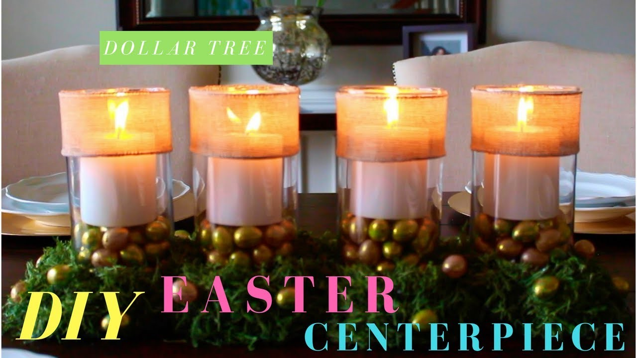 Dollar Tree DIY   Easter Moss Candle Centerpiece
