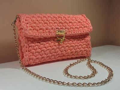 Easy DIY Crochet Stylish Chain Bag. Purse. Envelope Handbag made with T-Shirt Yarn