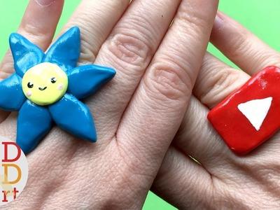 Easy Kawaii Flower Ring DIY - Polymer Clay DIYs