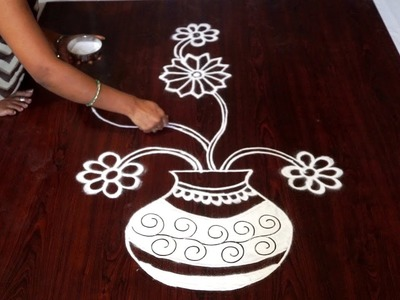 Flower muggulu without dots || flower kolam without dots || rangoli with flowers easy patterns