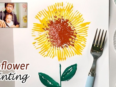 Fork Paint Sunflower Craft Idea | Easy Simple Painting for Kids