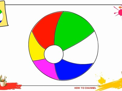 How to draw a beach ball EASY & SLOWLY step by step for kids