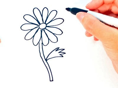How to draw a Daisy flower | Daisy flower Easy Draw Tutorial