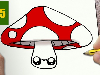 HOW TO DRAW A MUSHROOM CUTE, Easy step by step drawing lessons for kids