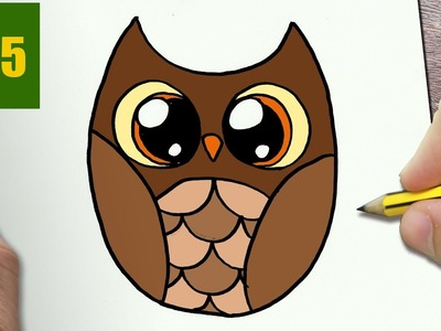 HOW TO DRAW A OWL CUTE, Easy step by step drawing lessons for kids