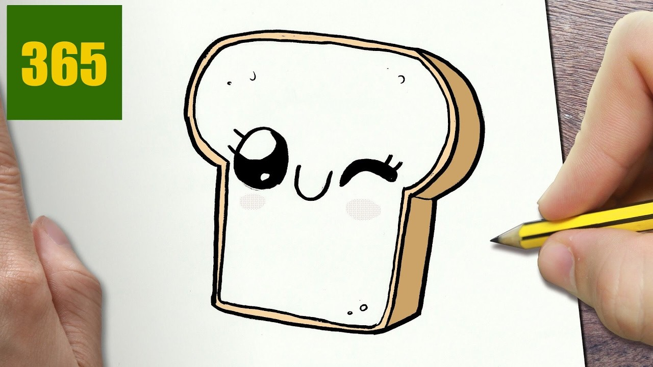HOW TO DRAW A SLICE OF BREAD CUTE, Easy step by step drawing lessons for kids