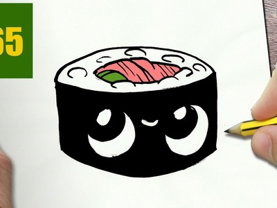 HOW TO DRAW A SUSHI CUTE, Easy step by step drawing lessons for kids