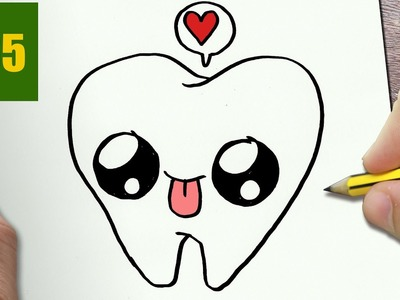 HOW TO DRAW A TOOTH CUTE, Easy step by step drawing lessons for kids