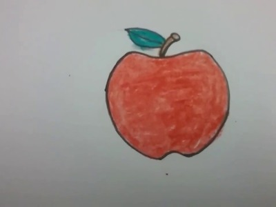 How to draw an apple  with basic shapes, easy drawing for kids, Apple easy drawing.