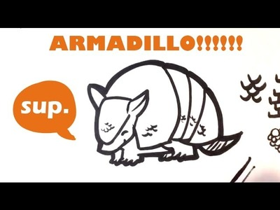 How to Draw an Armadillo (cute) - Easy Pictures to Draw