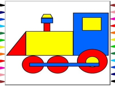 How To Draw Trains With Shapes Step-By-Step Easy Drawing || Learn Shapes.
