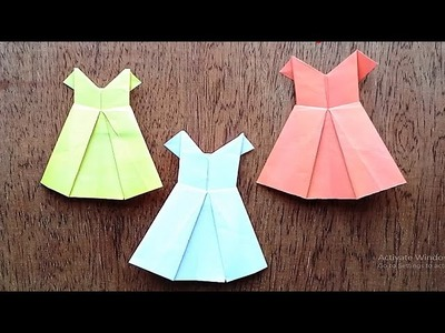 How to make an Origami Paper Dress 2017 - Paper folding Dress - DIY - Easy Craft Tutorial