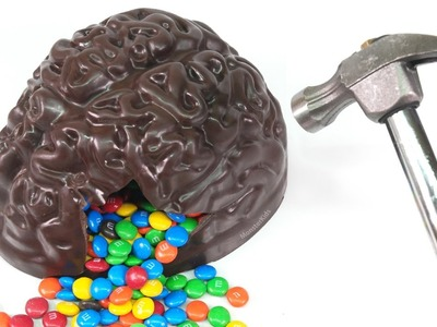 How to Make Chocolate Brain Filled with M&M's Candy Fun ! DIY Surprise Kids Candy | MonsterKids