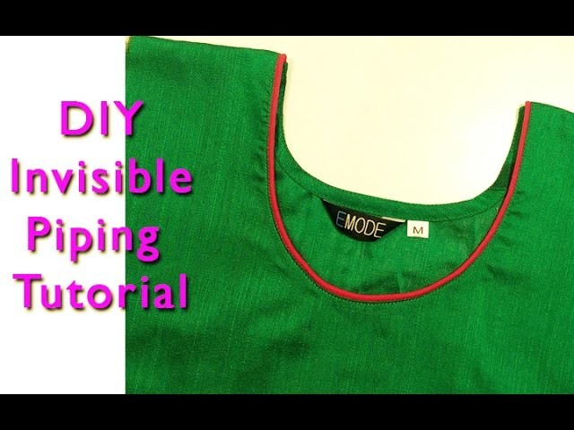 How to stitch Invisible Piping Tutorial DIY.how to stitch ghoom piping tutorial hindi