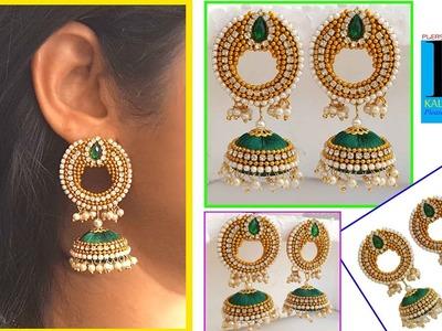 Making of Designer Bridal Silk Thread Reverse Chandbali Jhumkas : DIY