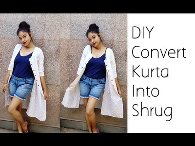 No Sew Convert Old Kurta Into Shrug | D.I.Y
